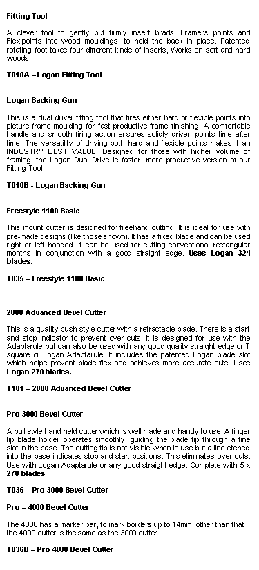 Text Box: Fitting Tool